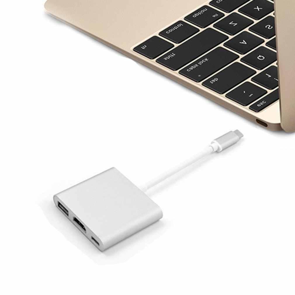 Adaptador 3 en 1 portátil Usb a Hdmi 3,1 tipo c a hdmi HDMI/USB 3,0/Adaptador tipo C de aluminio para Macbook Gray