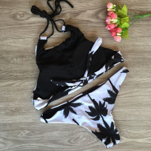 Print Floral Bikini Set Halter Crop Top Hang High Neck Bikinis Set Push Up Swimwear Women Swimsuit Beach Bathing Suit alluring floral halter neck bikini set for women