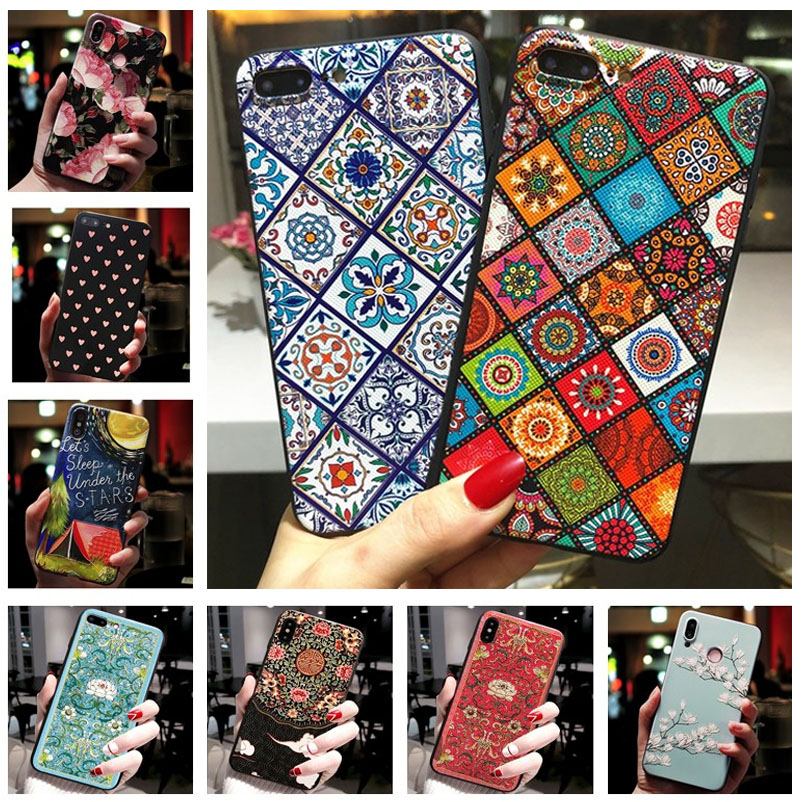 For Samsung A30S Case 3D Relief Flower Emboss Phone Case For Samsung Galaxy A50S A51 A50 A10 A10S A20 A30 A71 A70 Silicon Cover