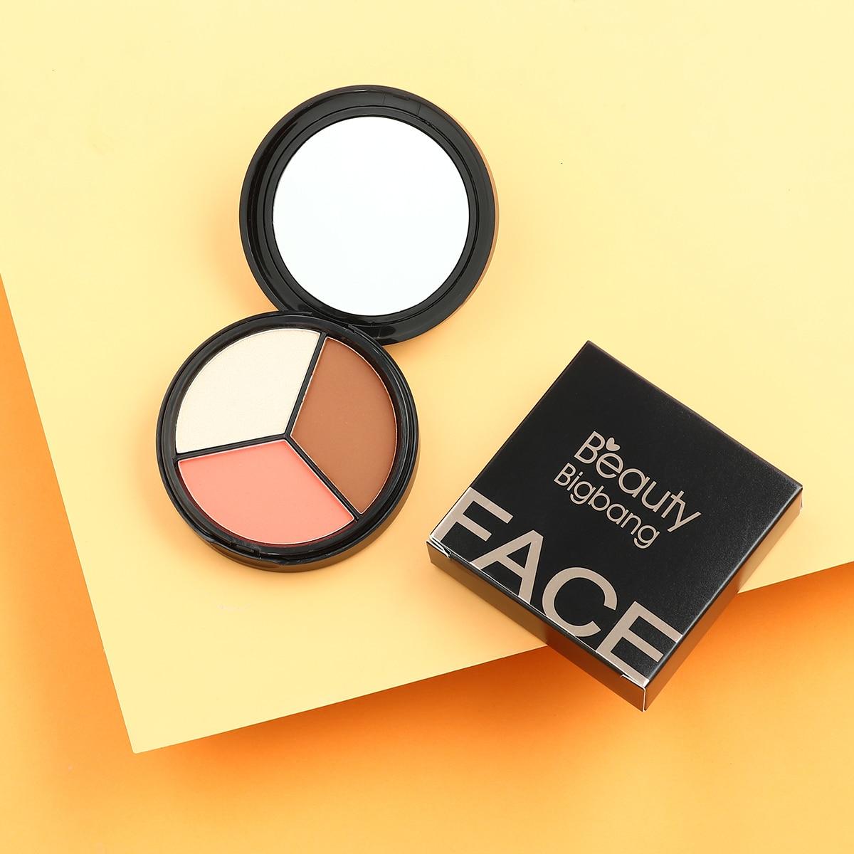 BeautyBigBang 3 Farben Gesicht Pulver Textmarker Iluminador Bronzer Make-Up Rosa Braun Schimmer Bronzer-Palette Kontur