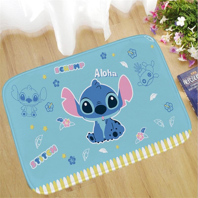 60x40cm Stitch Welcome Doormat Outdoor Carpet Absorbent Bathroom Floor Mats Kitchen Rug Non-slip Bedroom  Foot Mat  Rug