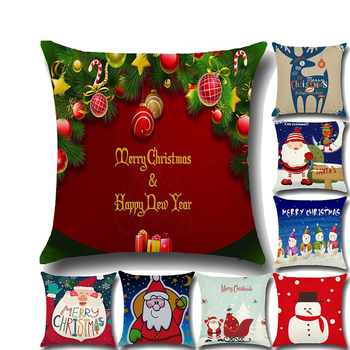 printed Santa Claus deer snowman hold cushion pillow case Christmas trend style home decor bolster cover with zipper no filling image