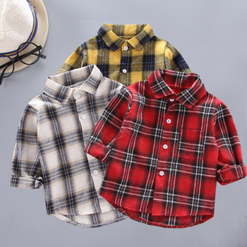 Spring Autumn Kids Casual Shirts Toddler Boys Shirts for Girls Plaid Shirts Kids Long Sleeve Cotton Shirts Girls Red Blouse