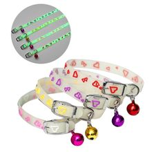 Pet Glowing Collars with Bells Glow at Night Dogs Cats Light Luminous Necklace