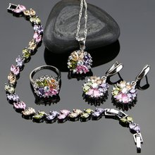 Женский комплект украшений из серебра 925 пробы ожерелье/кольцо/серьги/браслет/подвеска