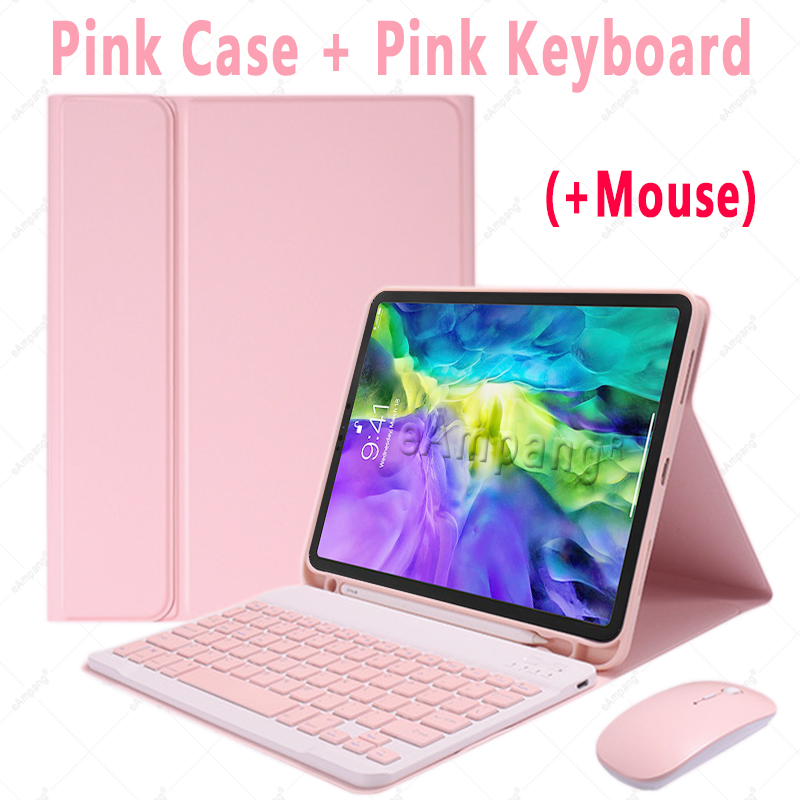 Pink with Mouse Red For iPad Air4 10 9 2020 A2324 A2072 Keyboard Mouse Case English Russian Spanish Korean Keyboard