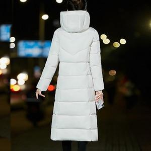 Image 2 - プラスサイズジッパー付きロングコート女性固体 6XL 冬ダウンジャケット女性のファッションスリム厚みコート上着