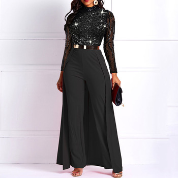 Black Long Sleeve Plus Size High Waist Straight Plain Jumpsuit Women Elegant Formal Party Slim Ladies Wide Leg Jumpsuits 1