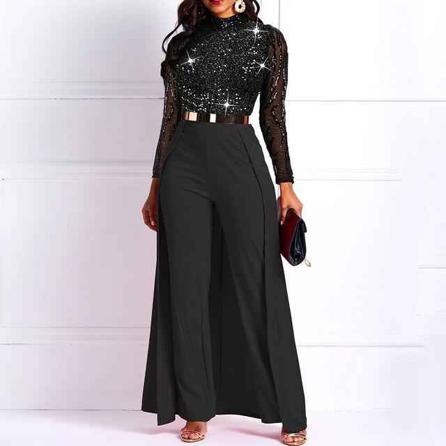 Black Long Sleeve Plus Size High Waist Straight Plain Jumpsuit Women Elegant Formal Party Slim Ladies Wide Leg Jumpsuits 1