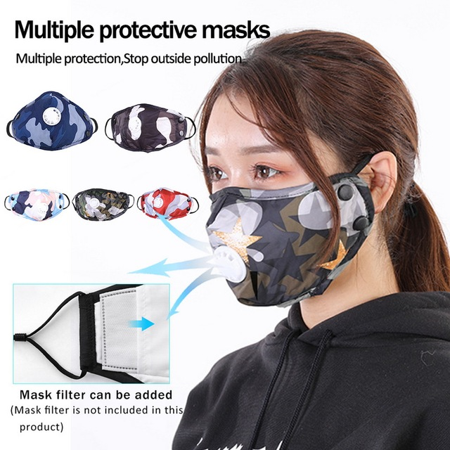 1PCS PM2.5 Washable Mouth Mask With Breathing Valve Anti Haze Dust Mask Nose Filter Windproof Face Anti Bacteria Flu