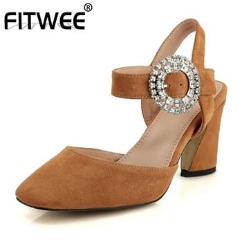 FITWEE Women High Heel Sandals Real Leather Rhinestone Buckle Summer Shoes Women Retro Square Toe Wedding Footwear Size 34-39