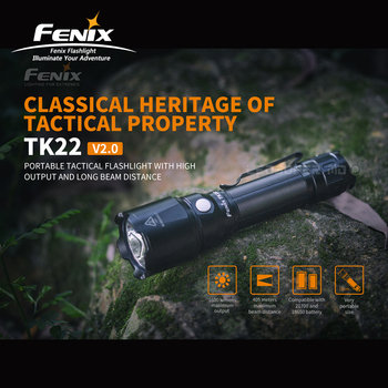 Classical Heritage Fenix TK22 V2.0 1600 Lumens Portable Tactical Flashlight with 405 Meters Beam Distance