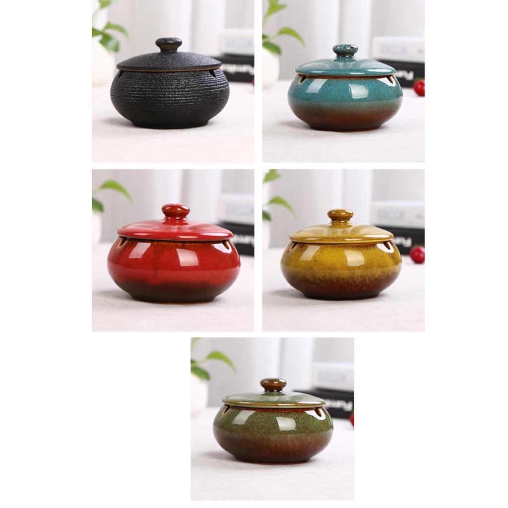 Ceramic-Ashtray Garden Outdoor With Lid Indoor-Height