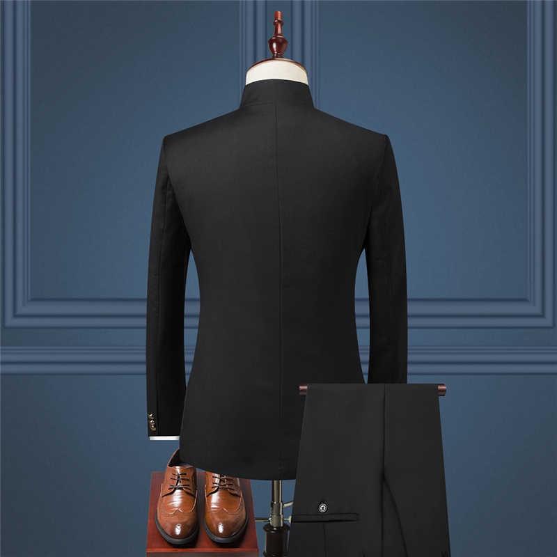 2019 男性のスーツ 3 点セット Szie S-4XL 結婚式の宴会スリムフィット男性のスーツのジャケットパンツ + ことができます個別に販売する