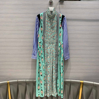 new spring runway design dress women turtleneck stripe sleeve contrast print pattern long high waist party dresses