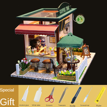 Doll House Miniature DIY Dollhouse With Furnitures Wooden Coffee Time Shop House kids Toys For Children  Birthday Christmas Gift
