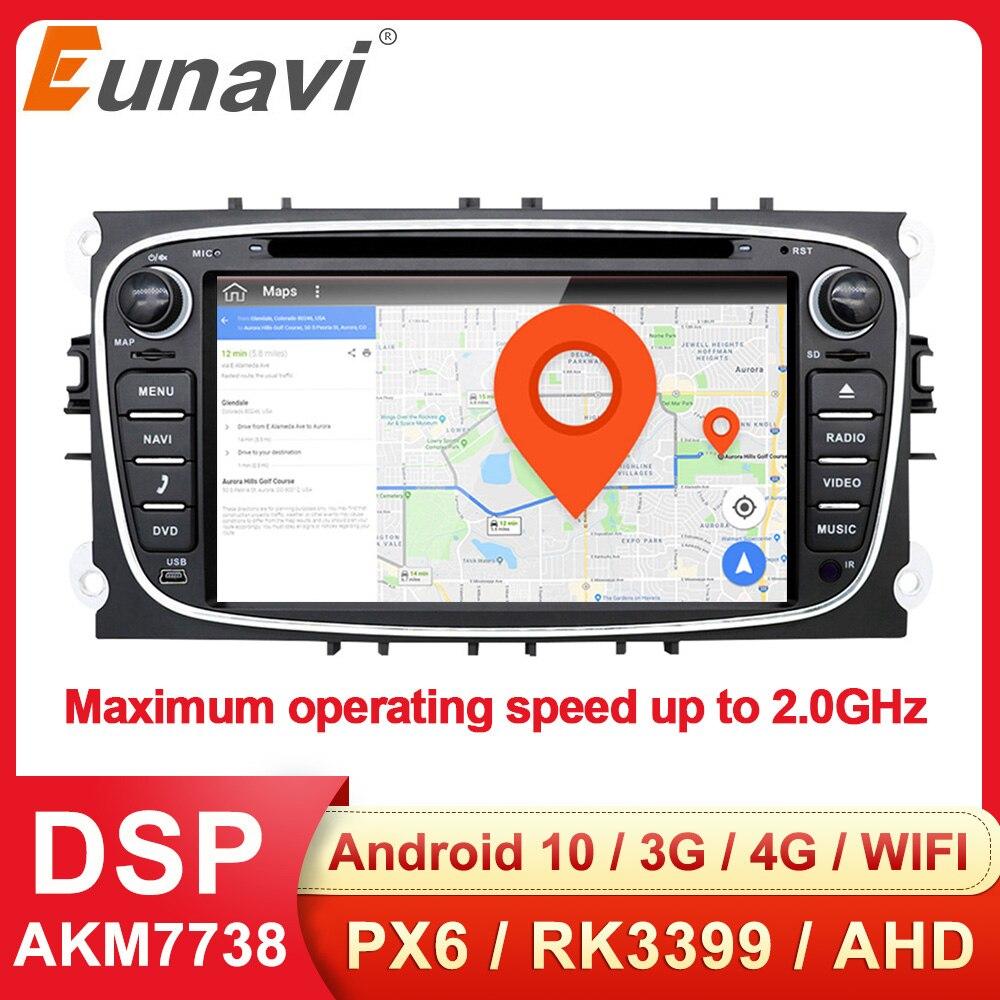 Eunavi 2 Din Android 10 araba DVD radyo multimedya GPS otomatik FORD Focus Mondeo için S-MAX C-MAX Galaxy 4G 64GB IPS DSP ana ünite DSP