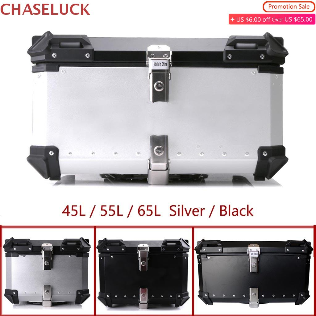 65L 55L 45L Motorcycle Storage Trunk Tail Top Tool Box Rear Luggage Helmet Lock Case Waterproof Aluminum Universal Accessories