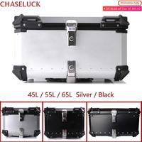 65L 55L 45L Motorcycle Storage Trunk Tail Top Tool Box Rear Luggage Helmet Lock Case Waterproof Aluminum Universal Accessories