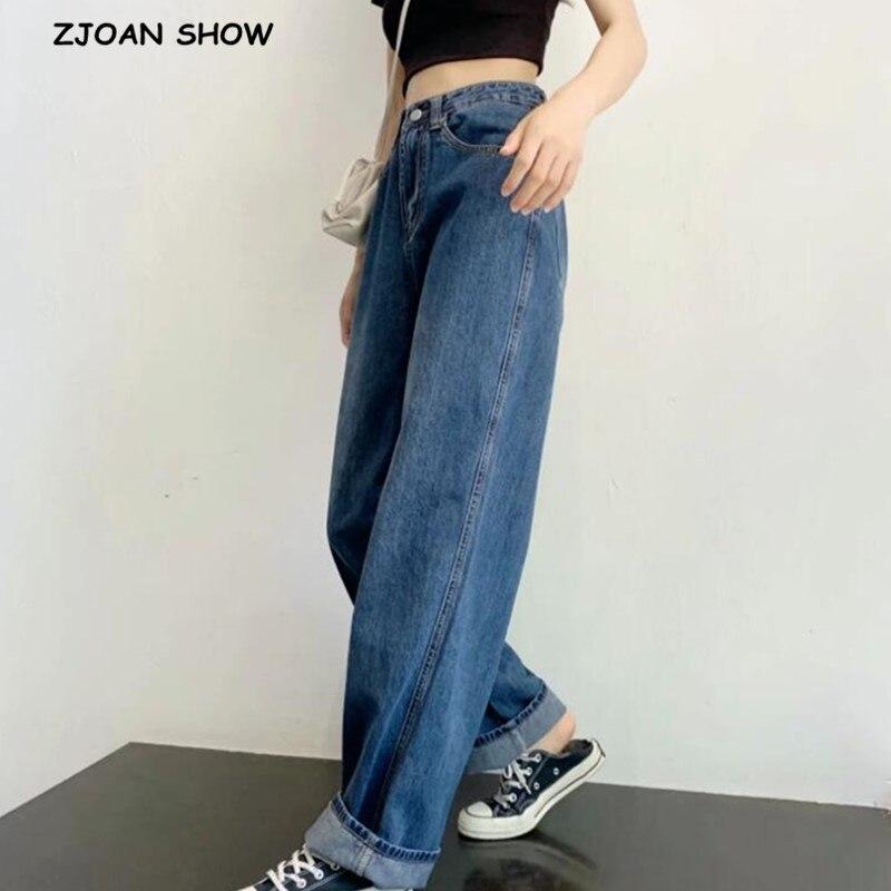 2020 Spring High Waist Blue Wide Leg Straight Jeans Retro Street High Waist Loose Grandma Vintage Denim Pants Trousers