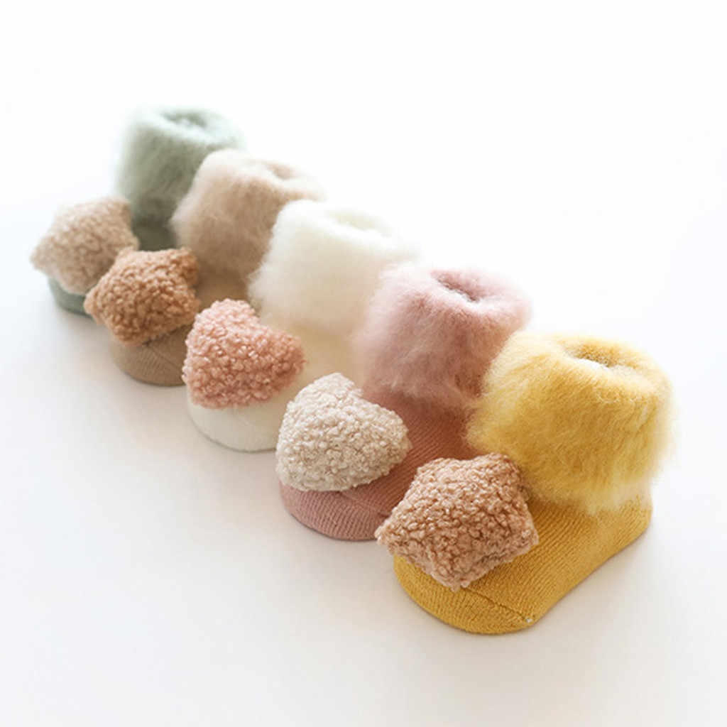 Baby Cute Winter Warm Cotton Socks Home Floor Multicolor Children Kids Socks Non-slip Toddler Footwear Wool Short Socks 19Nov06