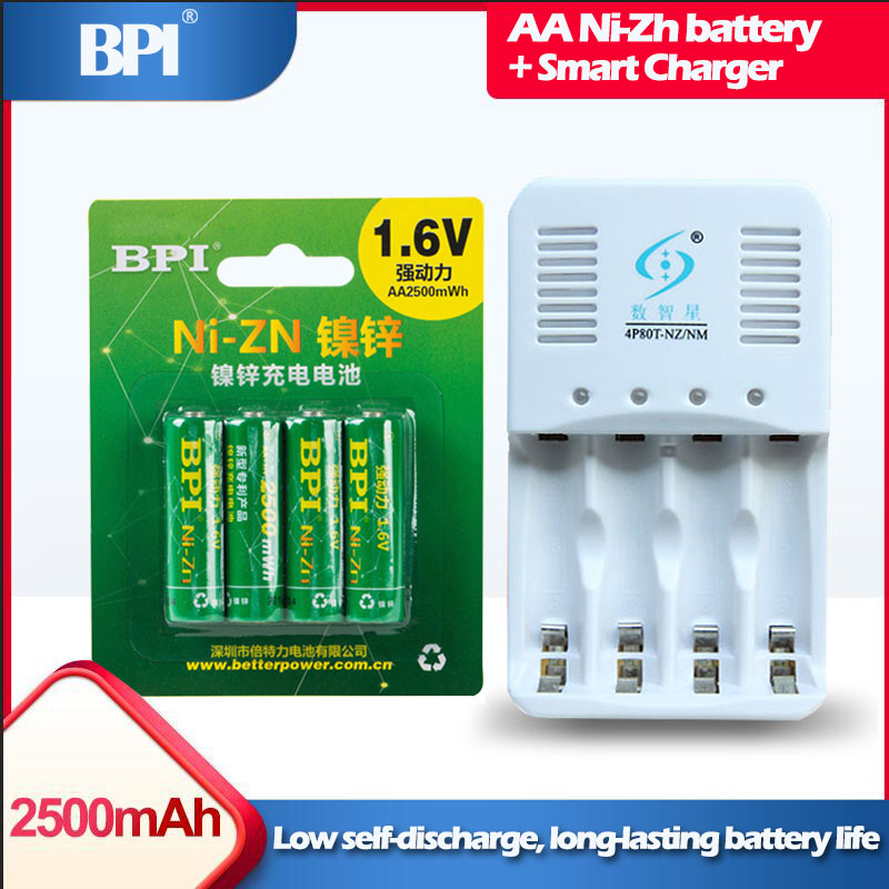 4 pièces 1.6v AA 2500mWh ni-zn NiZn batterie Rechargeable + 1 pièces chargeur intelligent avec câble pour ni-zn Ni-Mh AA AAA batterie