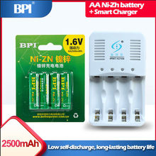 Lot de 4 batteries rechargeables ni-zn 1.6v AA 2500mWh + 1 chargeur intelligent avec câble pour piles ni-zn AAA
