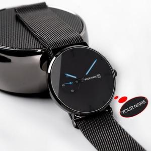 Image 3 - ボボ鳥レロジオ masculino 超薄型カスタマイズ名メンズ腕時計ステンレススチール日付表示彫刻テキスト腕時計彼のために