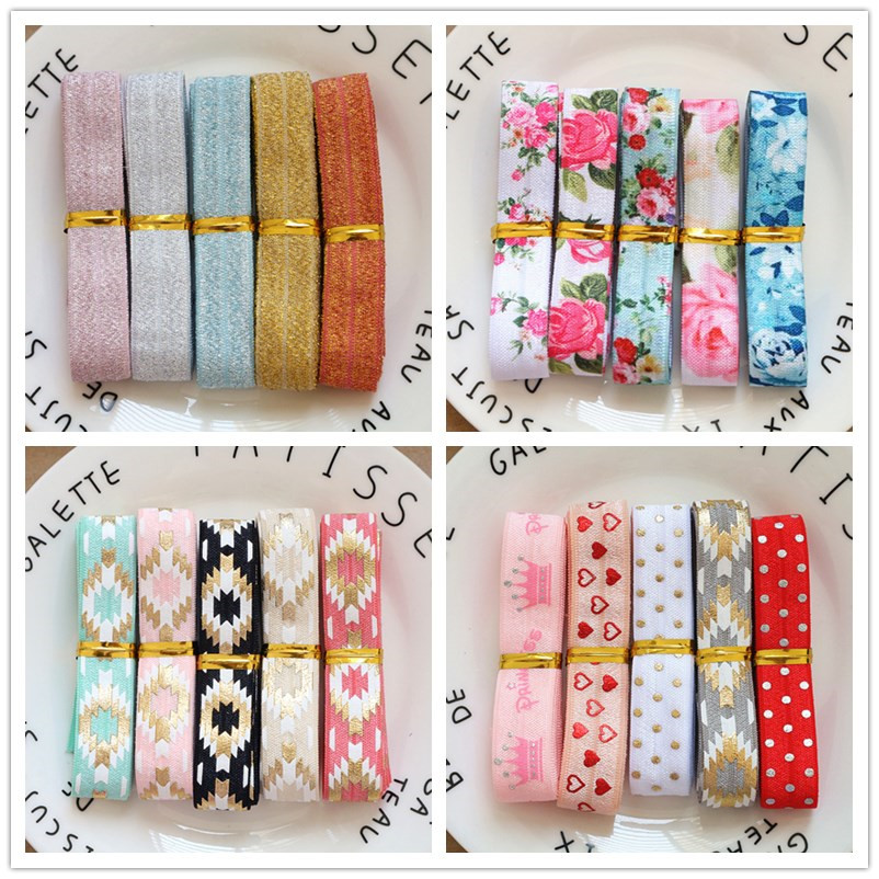 5Yards/Set Mix 5 Colors 16MM Width Printed Fold Over Elastic Foe Ribbon Stretch Band Diy Crafts Supplies