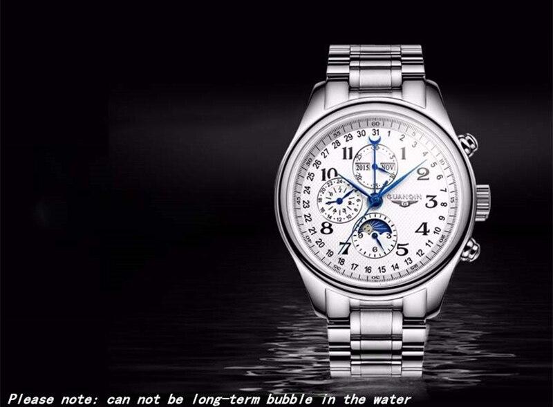 Hc629fe6a318049118def64800a307a69O GUANQIN Relogio Masculino Automatic Mechanical Men Watches Waterproof Calendar Moon Leather Wristwatch otomatik erkek saat