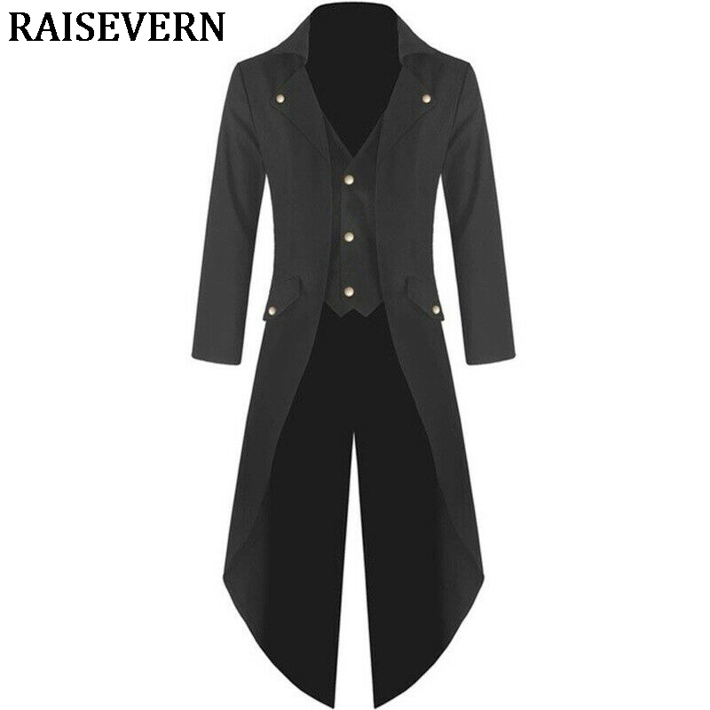 Mens Lapel Steampunk Vintage Coat Tailcoat Jacket Gothic Victorian Frock Coat Autumn Casual Male Trench Coat