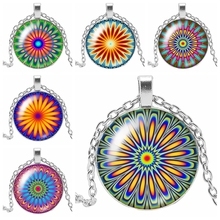 HOT! 2019 New Fashion Mandala Ethnic Wind Kaleidoscope Glass Cabochon Pendant Necklace Party Gift Jewelry