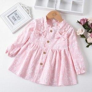 (12M-5T) 695 dzieci z długim rękawem łuk kwiat wydruku księżniczka sukienka jasnoniebieski maluch dziewczynka z długim rękawem stałe S4