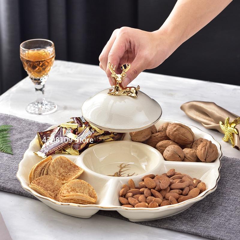 Assiette de fruits en céramique européenne | Assiette de snack à double couche, plateau de table basse de salon moderne, assiette à dessert, assiette à bonbons