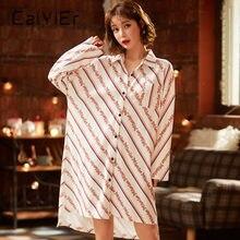 Caiyier 2020 женская ночная рубашка в полоску с отложным воротником