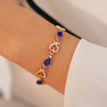 Luxury Gold Bracelets Bangles Colorful Austrian Crystal Drop Heart Chain Bracelets for Women Jewelry Gifts Party Wedding free shipping womens jewelry 18k gold filled cute austrian crystal amazing cat s eye stone fashion bracelets