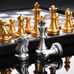 Conjunto de xadrez medieval com alta qualidade xadrez 32 peças de xadrez prata ouro magnético tabuleiro jogo xadrez figura define szachy checker