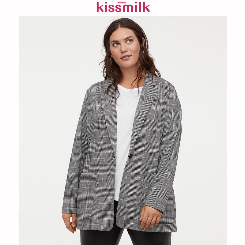 Kissmilk Office Professional Uniform Style Simple Solid Color Temperament Retro Plaid Large Size Slim Lapels One Button Blazer