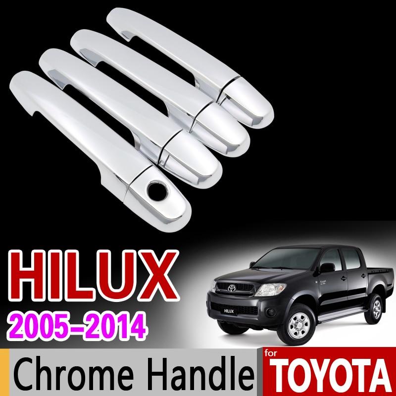 Para toyota hilux 2005-2014 chrome lidar com capa guarnição an10 an20 an30 sr5 2007 2008 2010 2013 acessórios adesivos estilo do carro