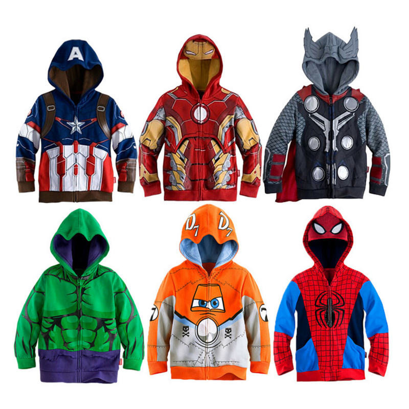 Spiderman Sweatshirt Coats Jacket Iron Hulk Marvel Boys Hoodies Avengers Superhero Thor title=
