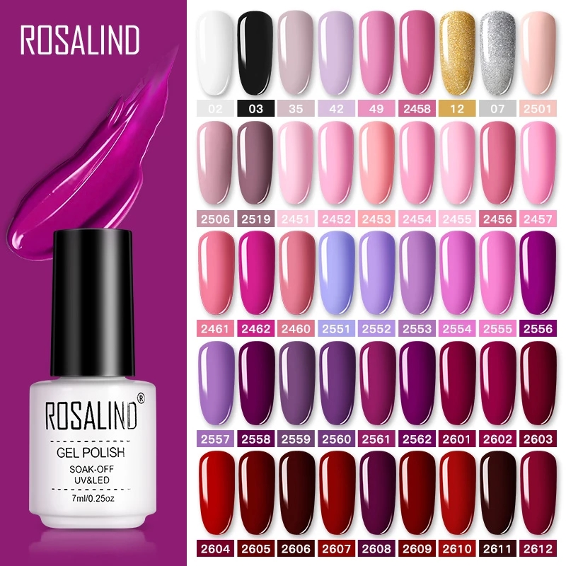 ROSALIND Gel Nail Polish Nail Art Vernis Semi Permanant UV Primer Manicure 7ML Top Coat Primer Gel Lak Hybrid Nail Polishes