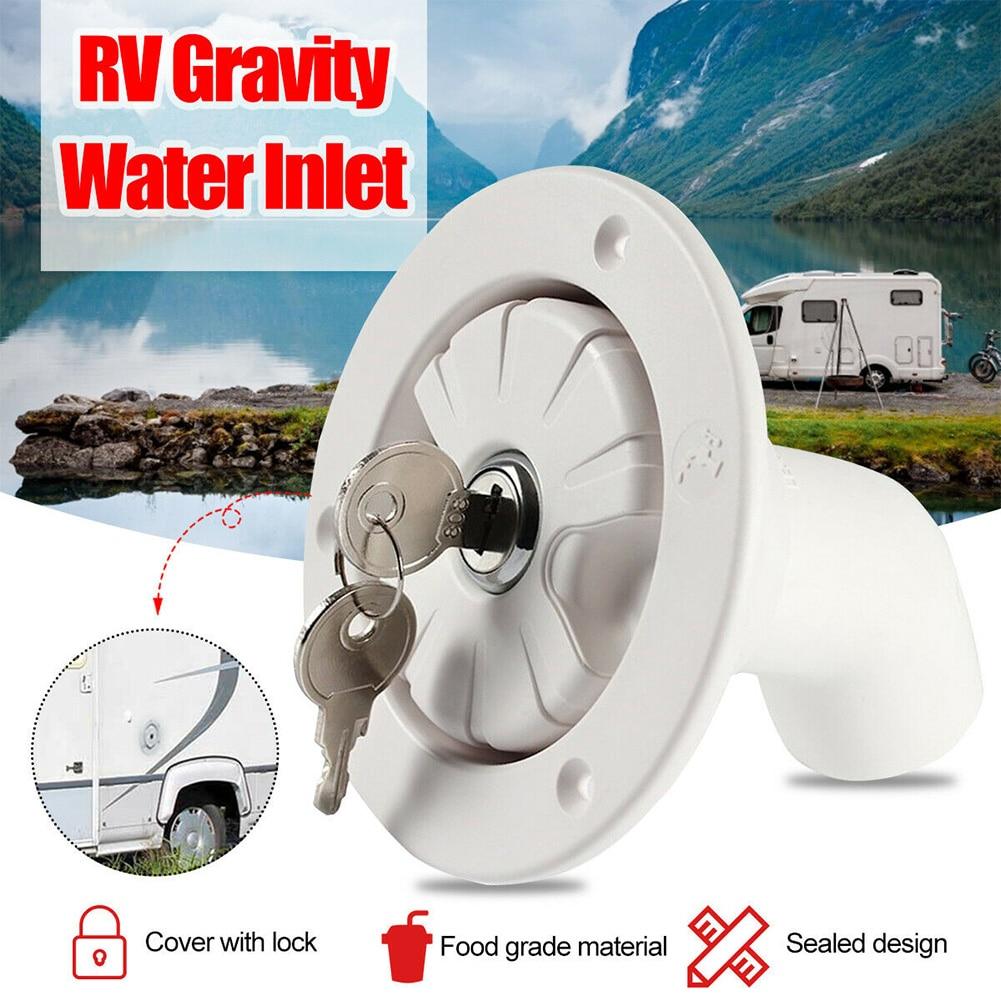 Water Locking Inlet Hatch Filler Cap White for Caravan Motorhome Fresh Water RV Camping Trailer Motorhome Drain Water Tank Caps(China)