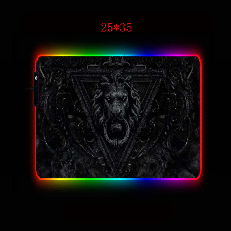 XGZ Lion Black Large RGB Gaming Mouse Pad Gamer Keyboard Mousepad LED Light USB Wired Non-Slip Animal Mouse Mice 7 Dazzle Colors 5