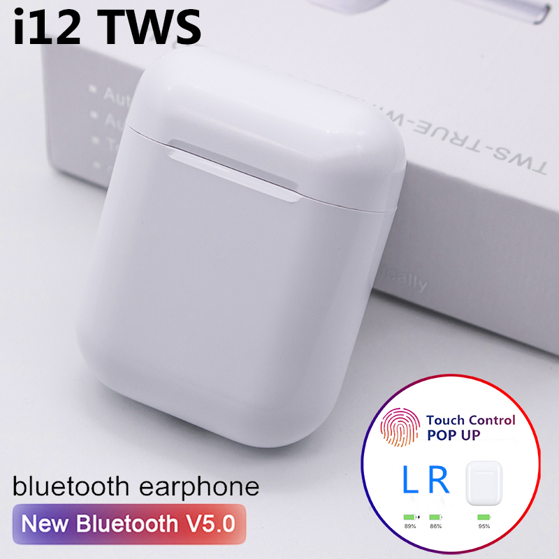 Original <font><b>i12</b></font> <font><b>TWS</b></font> Wireless <font><b>Bluetooth</b></font> <font><b>5.0</b></font> Earphone Sports Sweatproof Headphone Touch Portable <font><b>Earbuds</b></font> for i10 i20 <font><b>tws</b></font> i30 i60 i80 image