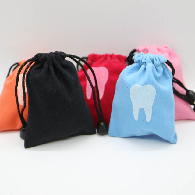5pcs Dental clinic gift Deciduous teeth storage bag baby primary teeth case milk teeth bag The tooth fairy bag