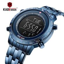 New Luxury Men Sport Watch Original Step Counter Digital 3ATM Full Steel Fashion Wristwatch TOP Brand KADEMAN Relogio K849