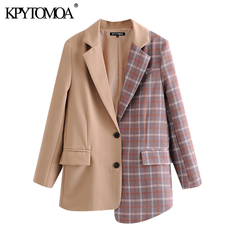 KPYTOMOA Women 2020 Fashion Office Wear Patchwork Irregular Blazer Coat Vintage Long Sleeve Pockets Female Outerwear Chic Tops