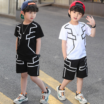 2020 Summer Boys Clothes Sport Suit Kids Short Sleeve T-Shirt+Pants 2 Pcs Children Clothing Set Boy Tracksuit 4 6 8 10 12 Years
