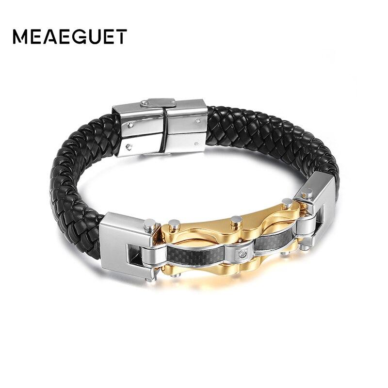 Meaeguet Punk Genuine Leather Men Bracelets Bangles High Quality Stainless Steel Gold Color Charm Bracelet For Male