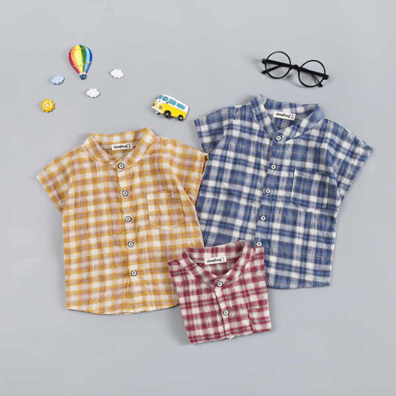 2019 Summer New Style Childrenswear Men And Women Baby 1-4-Year-Old Small CHILDREN'S Plaid Shirt Air Conditioning Clothes Cotton